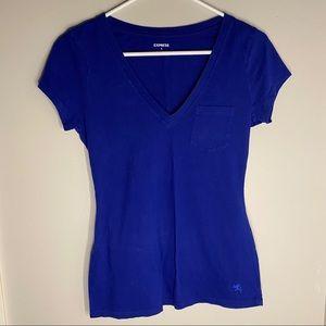 women's blue short sleeve tee shirt.